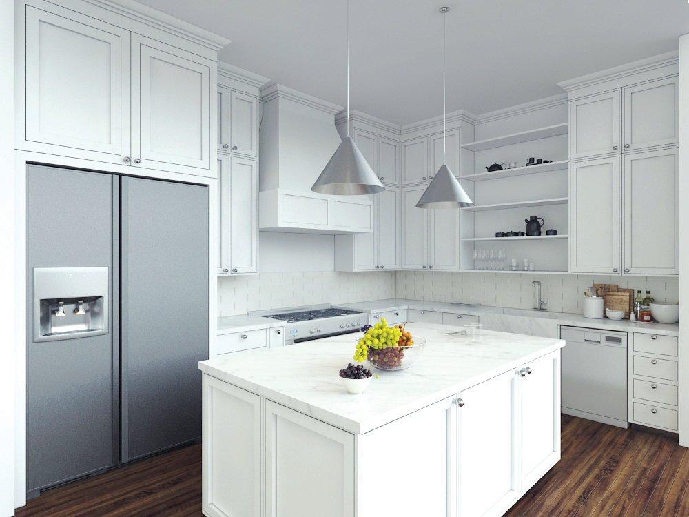 Wood Kitchen Rendering